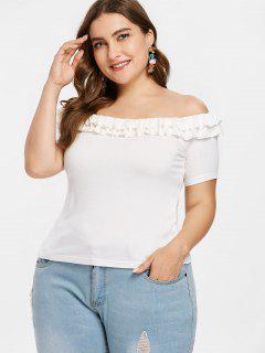 Plus Size Rüschen Trimmen Schulterfrei T-Shirt - Weiß 4x