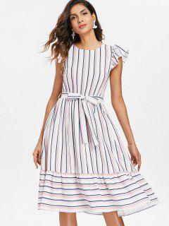 Striped Casual Flounce Dress - Multi L
