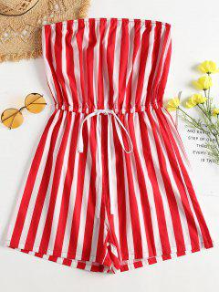 Drawstring Strapless Striped Romper - Fire Engine Red S