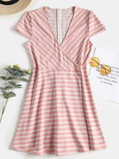 Overlap Striped Skorts Romper - Light Pink L