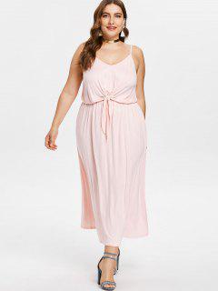 Plus Größe Knoten Vorne Cami Kleid - Rosa Kaugummi 4x