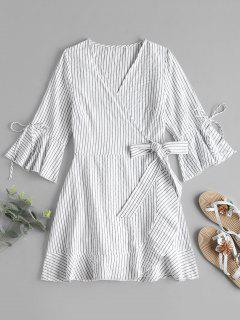 Stripes Mini Wrap Dress - White L