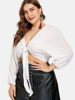 Plus Size Plunging Knot Crop Top - White 1x