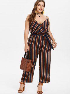 Plus Size Striped Belted Jumpsuit - Dark Slate Blue 1x