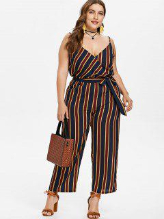 Plus Size Striped Belted Jumpsuit - Dark Slate Blue 2x