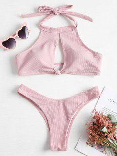 Ribbed High Neck Knot Bikini - Light Pink L