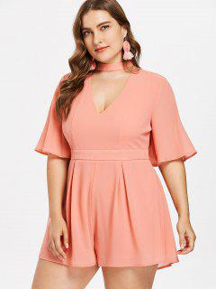 Plus Size Choker High Waisted Romper - Tangerine 3x
