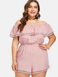 Plus Size Overlay Crochet Trim Romper - Pink Bubblegum L