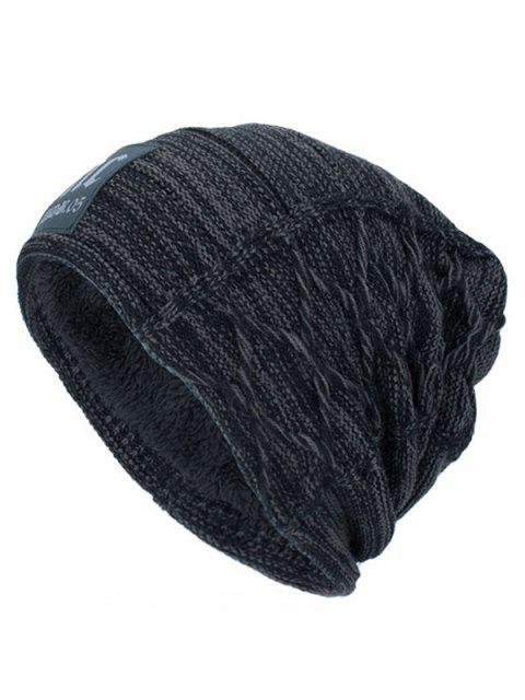 Espesar Sombrero de Punto de Doble Cubierta con Etiqueta de Letras - Gris Oscuro  Mobile