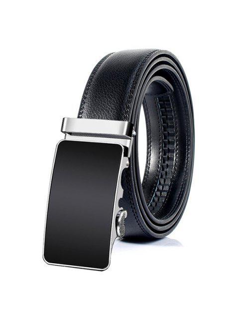 trendy Metal Polished Buckle Decoration Faux Leather Belt - BLACK 115CM Mobile
