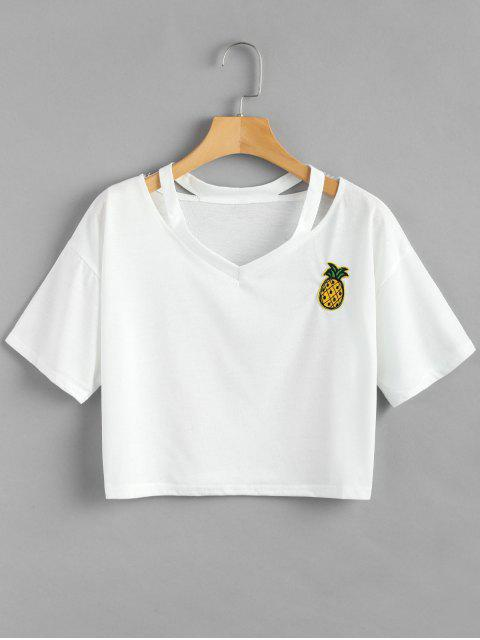 fashion Pineapple Patch Slash Neck Cropped Tee - WHITE S Mobile