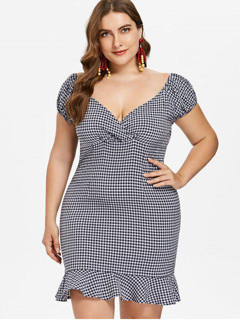 online Plus Size Flounce Gingham Dress - DEEP BLUE L Mobile