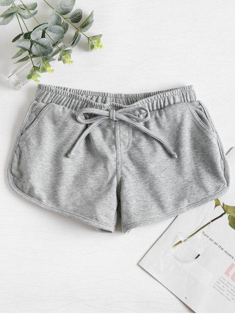 trendy Knotted Waist Gym Shorts - LIGHT GRAY M Mobile
