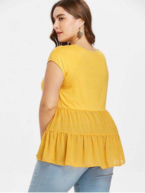 hot Plus Size A Line Flounce Tee - BRIGHT YELLOW 2X Mobile