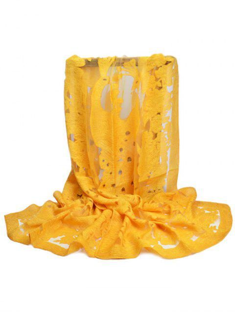 best Flourishing Flower Decorative Long Scarf - BRIGHT YELLOW  Mobile