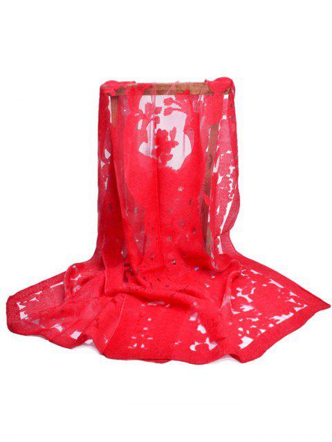 Fleur florissante décorative longue écharpe - Rouge Lave  Mobile