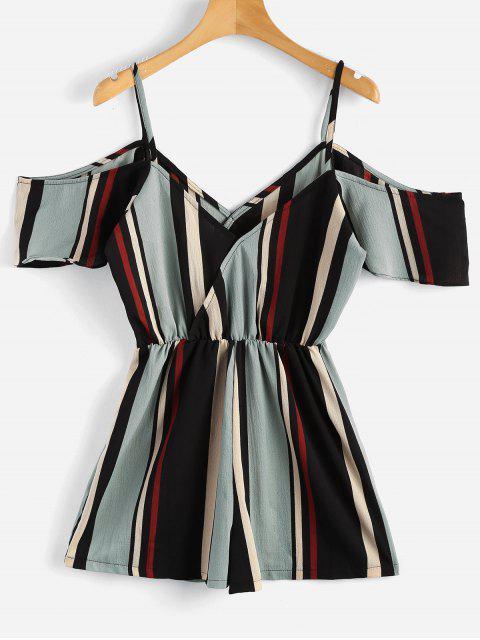 women Flowy Striped Cold Shoulder Romper - MULTI M Mobile