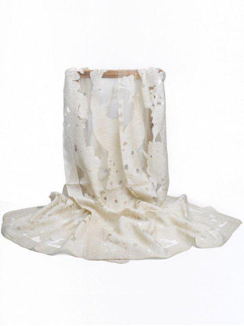 Floreciente flor decorativa larga bufanda - Beis  Mobile