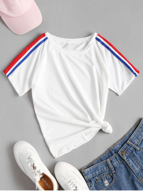 ladies Raglan Sleeve Striped Tape T-Shirt - WHITE L Mobile