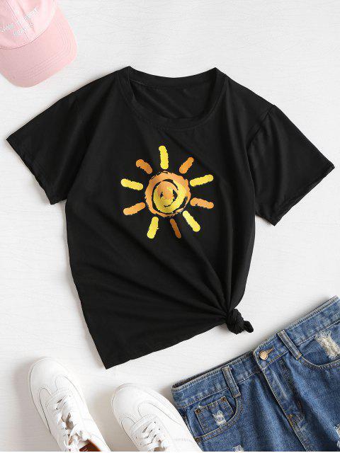 T-shirt Doux et à Motif Graphique de Soleil - Noir L Mobile
