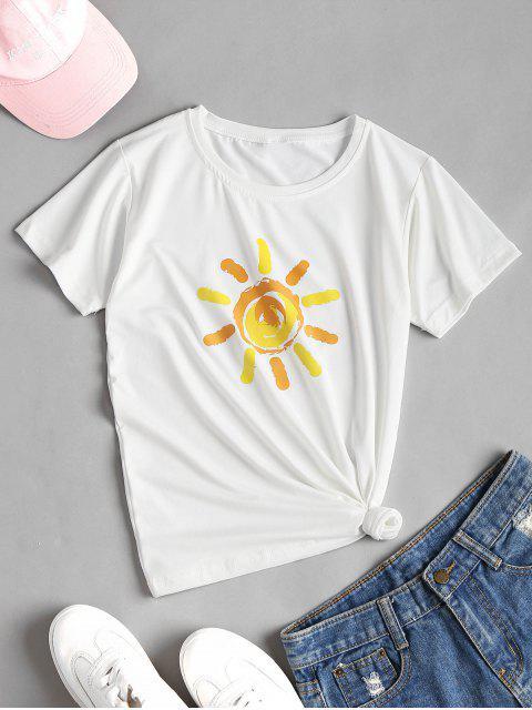 T-shirt graphique doux imprimé Sun Print - Blanc L Mobile