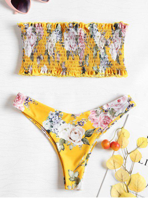 latest Bandeau Smocked Bikini Top with High Cut Bottoms - SUN YELLOW XL Mobile