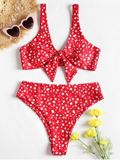 chic Speckled Knotted High Cut Bikini Set - RED S Mobile