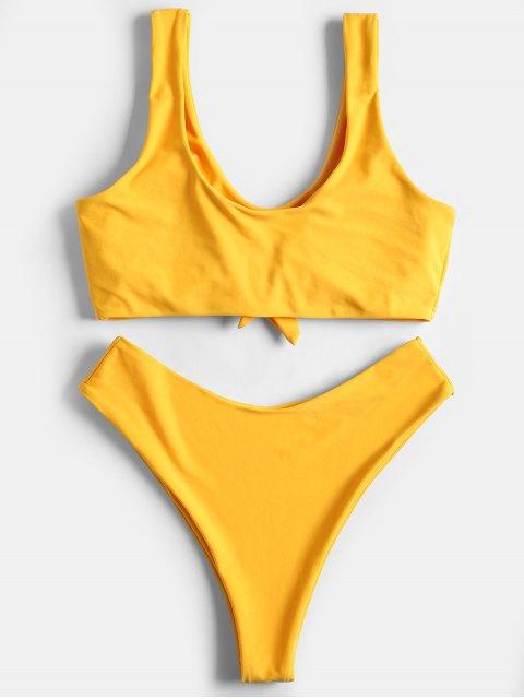latest High Rise Bowtie High Leg Bikini - YELLOW M Mobile