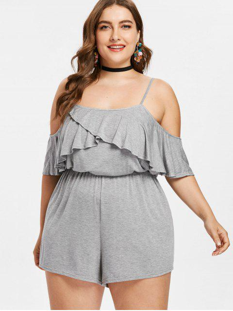 ladies Plus Size Flounce Cold Shoulder Romper - LIGHT GRAY 2X Mobile