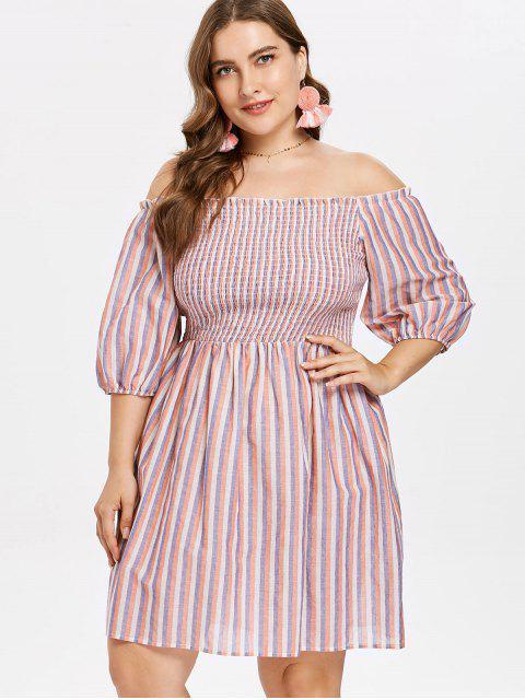 affordable Plus Size Off Shoulder Striped Dress - MULTI 4X Mobile