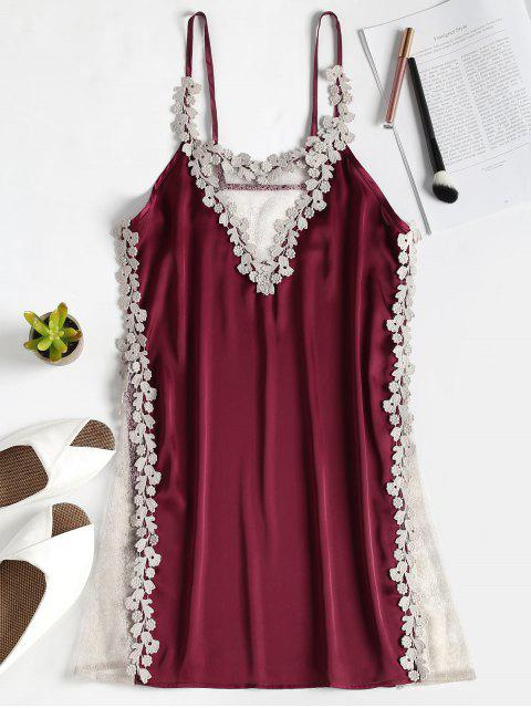 outfits Sheer Panel Satin Nighgown Slip Dress - RED WINE ONE SIZE Mobile