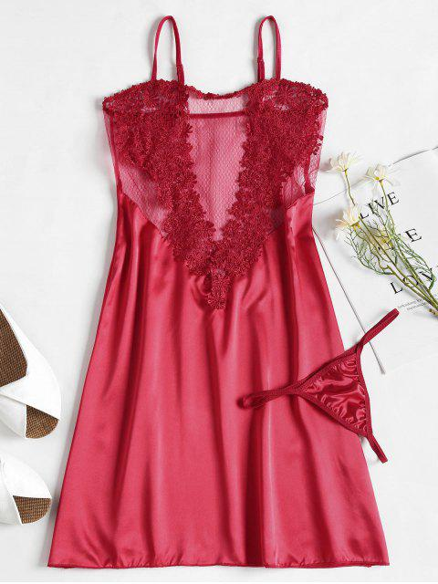 chic Applique Mesh Satin Nightgown Slip Dress - RED ONE SIZE Mobile