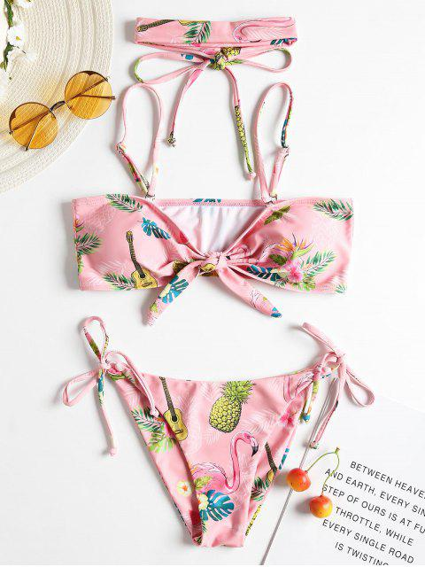 Bikini de gargantilla con estampado lateral y corbata con nudo - Rosa Luz S Mobile