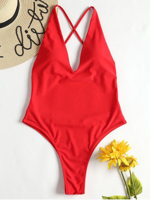 Cross Back High Cut Swimsuit - Amo Rojo L Mobile