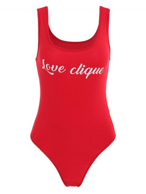 latest Contrasting Slogan Print Tank Bodysuit - RED M Mobile