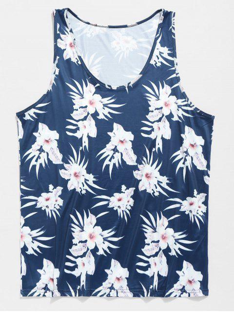 Débardeur d'Eté Hawaï Fleur - Bleu Myrtille 2XL Mobile