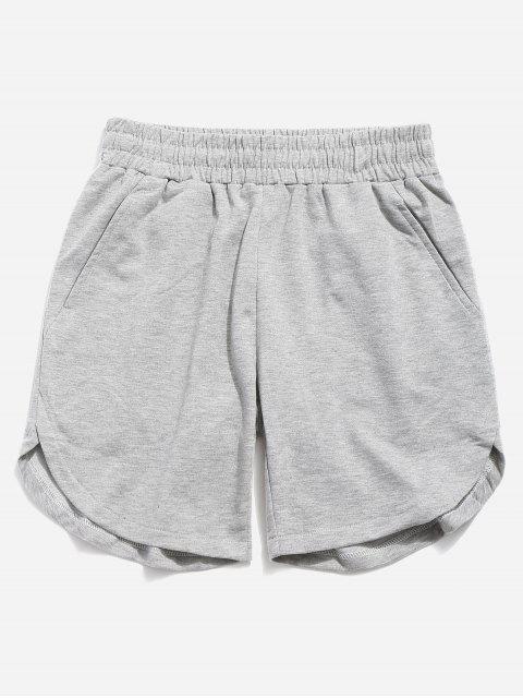 Einfarbige Shorts mit abgerundetem Saum - Blaugrau 40 Mobile