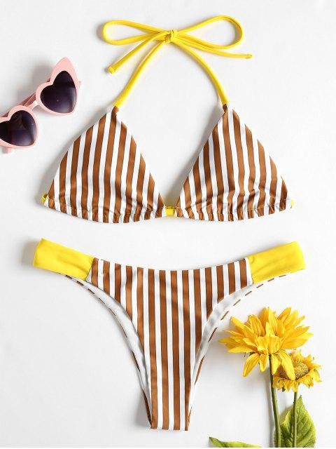 Gestreifter Niedrige Taille Bikini - Kastanie S Mobile