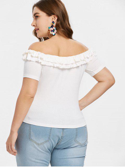 chic Plus Size Frills Trim Off Shoulder Tee - WHITE L Mobile
