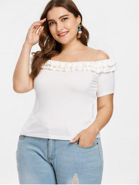 T-shirt Epaules Dénudées à Bord Plissé Grande Taille - Blanc 1X Mobile