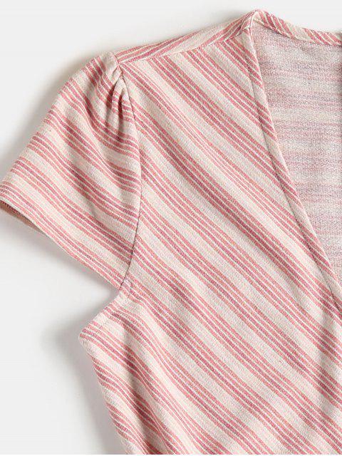 chic Overlap Striped Skorts Romper - LIGHT PINK L Mobile