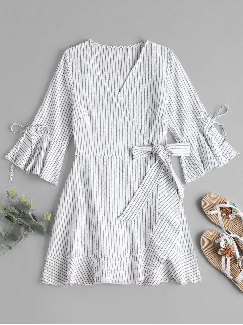 Mini-robe Enveloppante et à Rayures - Blanc M Mobile