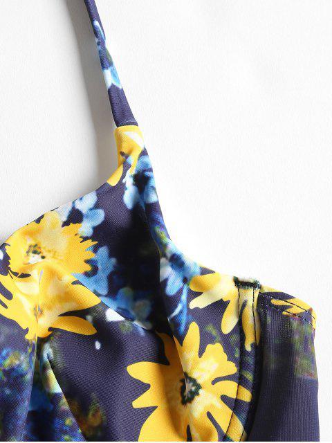 latest Floral High Leg Underwire Bikini - DENIM DARK BLUE S Mobile