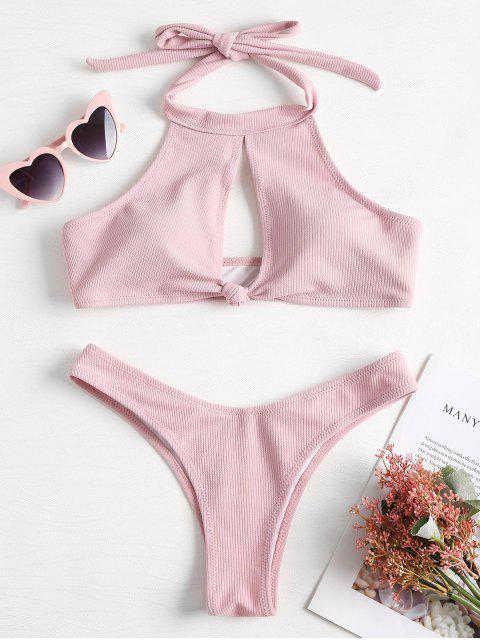 womens Ribbed High Neck Knot Bikini - LIGHT PINK S Mobile