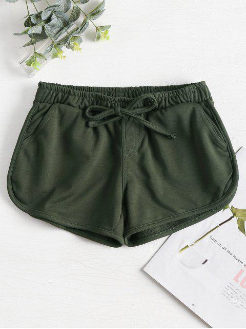 hot Knotted Waist Gym Shorts - ARMY GREEN M Mobile