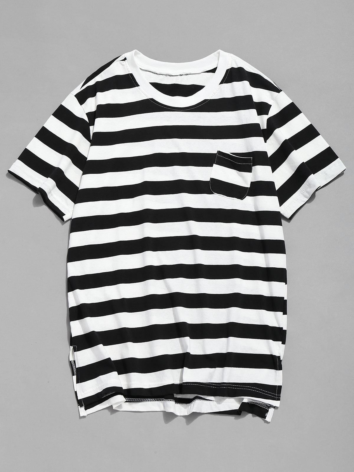 Pocket Striped Split Hem T-shirt