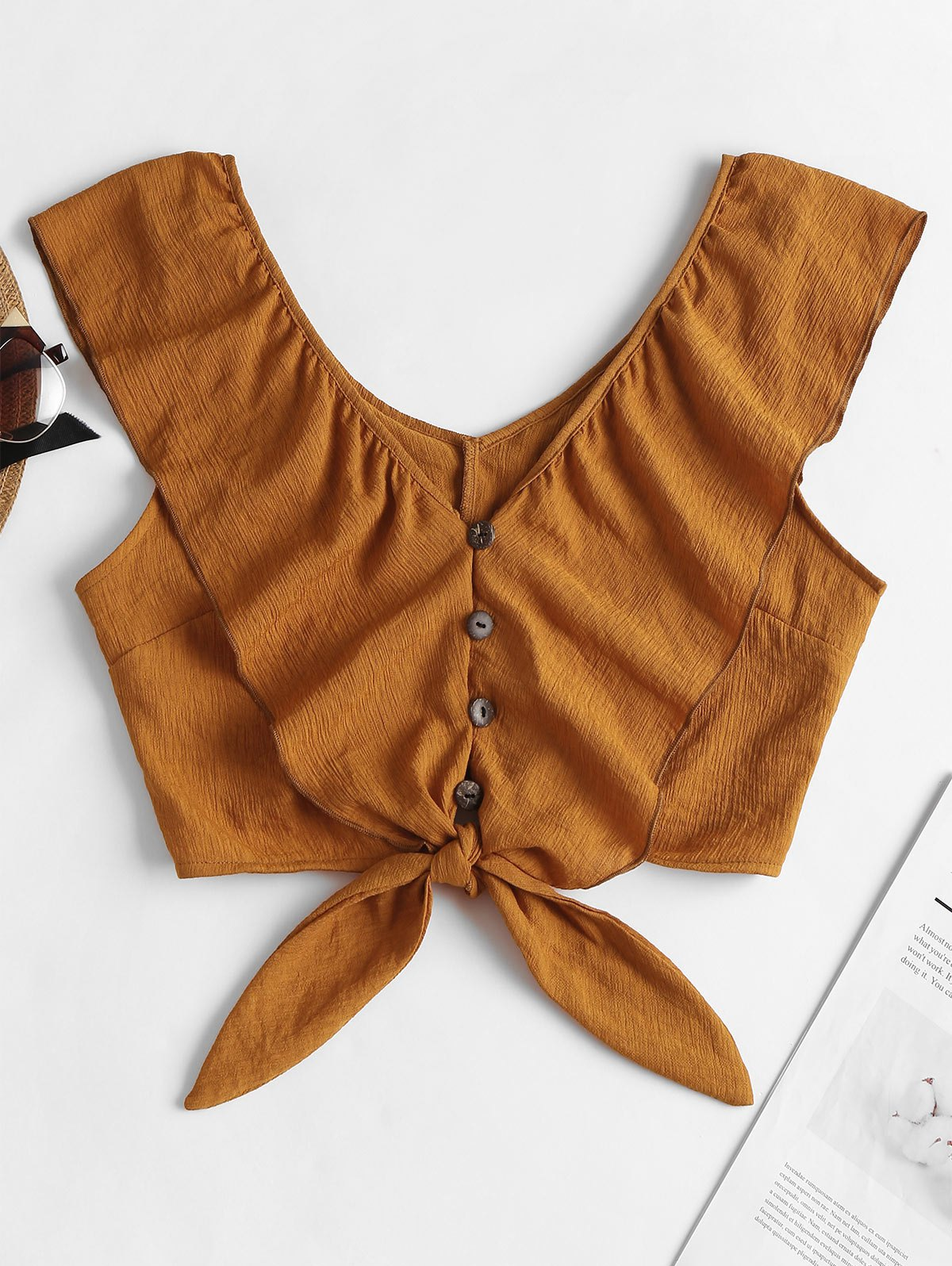 Button Up Ruffle V Neck Crop Top