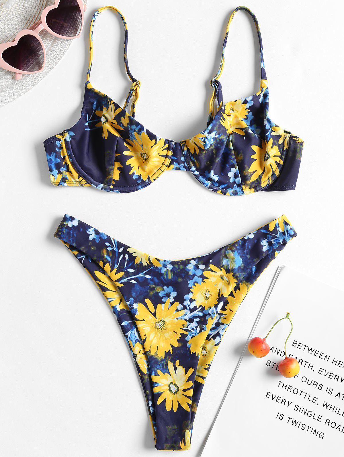 Floral High Leg Underwire Bikini
