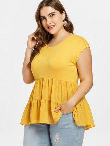 A Brillante Camiseta Plus Talla 2x Flounce De Amarillo R85n4UwqFx