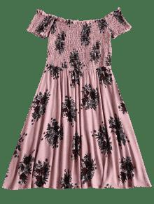 Con L Khaki Descubiertos Vestido Hombros Rosa Floral 6Axzq5wOnS